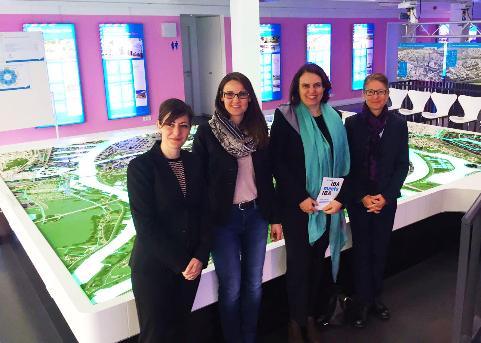 Monica Linder-Guarnaccia (IBA Basel Managing Director), Karen Pein (Managing Director IBA Hamburg), President of Cantonal Government Elisabeth Ackermann and Sabine Horvath (Head of External Affairs and Marketing Basel), at the IBA-Dock 2017 in Hamburg.