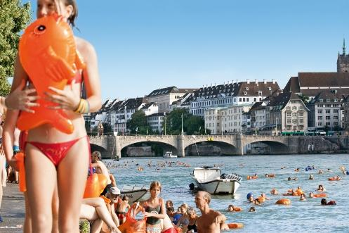 Basel's official Rhine Swim attracts numerous participants every year.