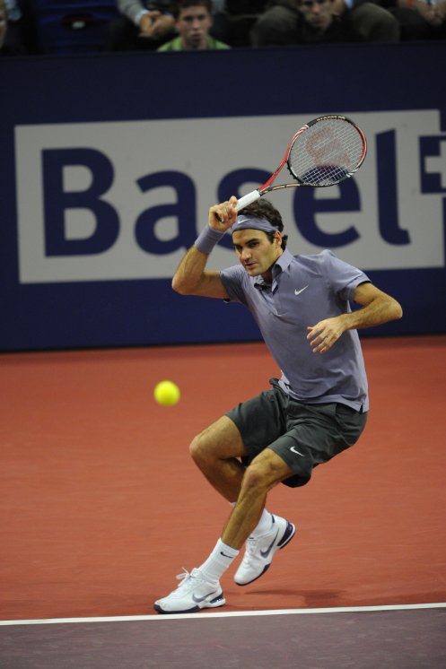 The tennis star from Basel, Roger Federer in action at the Swiss Indoors in Basel.